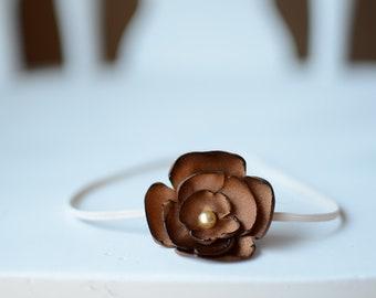 Baby girl headband Burnt flower headband brown headband