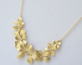 Orchid Necklace.Wedding Necklace, Bridesmaid Gift