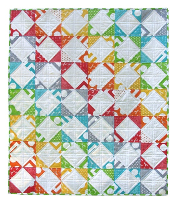 FREE SHIPPING  Rainbow Steps and Stairs Quilt