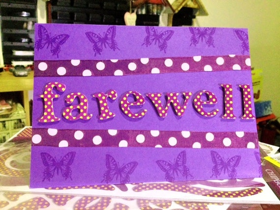 Handmade greeting cards designs for farewell 2018 images items similar to farewell card on etsy handmade greeting cards designs for farewell m4hsunfo