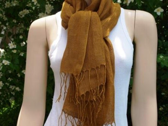 Gold Beige Linen Scarf Womens Head or Neck Scarf