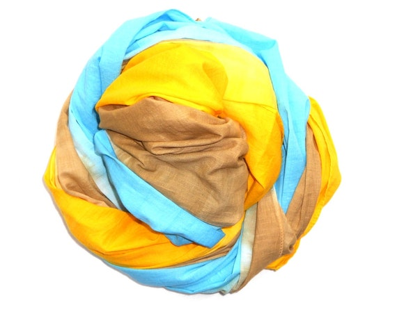 Blue Yellow and Brown Cotton Scarf Womens Shoulder, Neck Scarf, hand dyed