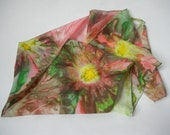 Hand painted silk scarf, Earth Tones, Yellow, Green, Salmon, Floral Scarf, Abstract, Boho, Watercolor Scarf, Scarves, Gift