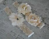 Burlap Wedding Garter, Cream Lace Garter, Burlap Flower, Cream Burlap Garter