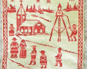 vintage cross stitch village embroidery in red