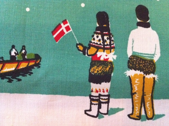 Rare Vintage Tablecloth GREENLAND DENMARK SEAL Skinning Romance Native Life