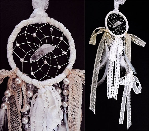 Dreamcatcher, lace dreamcatcher, quartz crystal, bohemian dreamcatcher, wedding decor