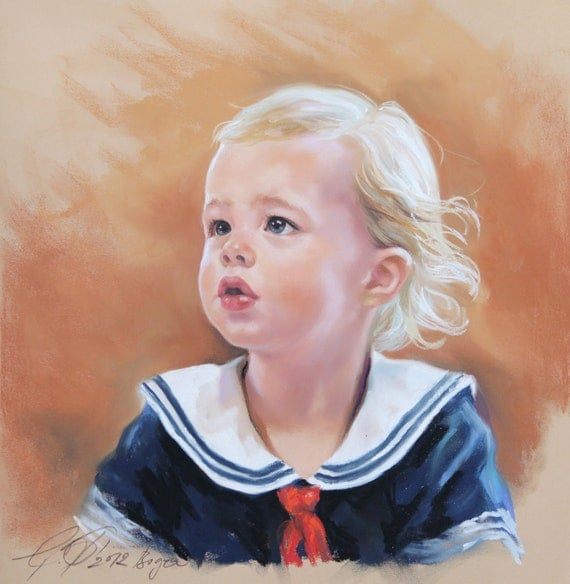 Baby portrait. Custom Pastel Portrait Painting of baby from photography