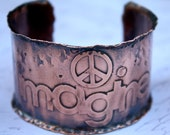 Womens Cuff Bracelet Copper Imagine Peace Etched Antiqued Wide