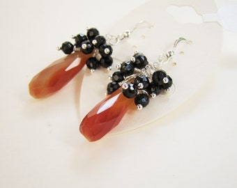 Orange and black, orange carnelian earrings, black spinel cluster earrings, gemstone earrings, autumn, sterling silver earrings