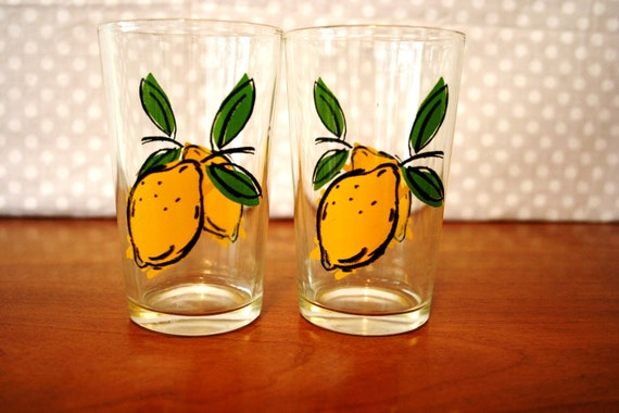 Set of 2 Vintage Lemon Glasses