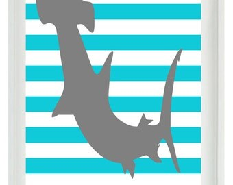 Hammerhead Shark Nautical Beach Nursery Boy Room Wall Art Print  -Aqua Gray Decor Stripes  Kid room - Wall Art Home Decor