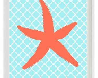 Starfish Beach Nautical Sea Creature Art Print  - Nursery Children Room Aqua Orange Coral - Wall Art Home Decor