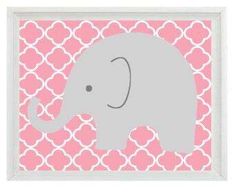 Elephant Nursery Wall Art Print - Pink Gray Decor - Children Kid Baby Girl Room - Wall Art Home Decor  Print