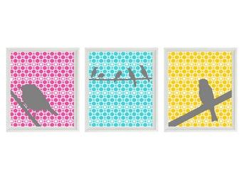 Birds Nursery Wall Art Print - Hot Pink Aqua Yellow Gray Decor  - Children Girl Room Home Decor Set   Prints