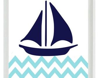 Nautical Sailboat Chevron Wall Art Print  - Navy Blue Aqua White - Nursery Children Room Home Decor  print