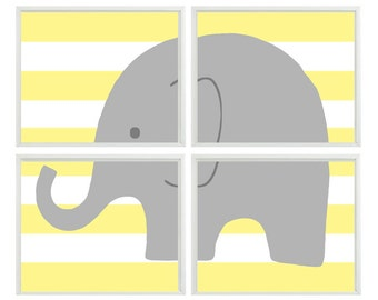 Modern Nursery Art Elephant Print Set - Yellow Stripes Gray Decor - Neutral Baby Children Kid room -  Wall Art Home Decor -