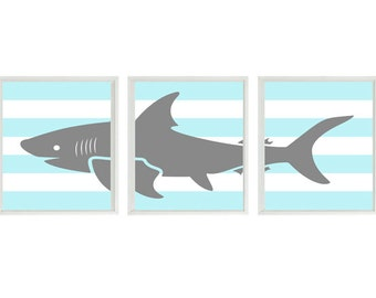 Shark Art Print Set - Nursery Baby Boy Room Aqua Gray White Stripes -  Beach House Wall Art Home Decor Set
