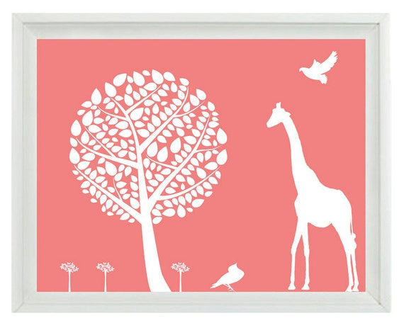 Giraffe Nursery Wall Art Print  8x10 - Bird Tree Silhouette Pink White Children Kid Girl Room Custom Home Decor
