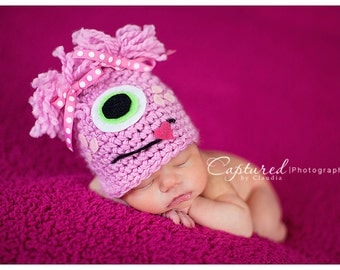 Baby Girl Hat PINK MONSTER Newborn Baby Boy / Girl Crochet Hat More Colors Available 0-3 & 3- 6 months