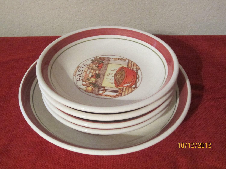Vintage italian pasta bowls tre ci made in italy set of 5 for Made com italia