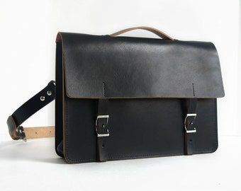 "Handmade 14"" Leather Messenger Bag - Thick Veg-Tan Leather in Black"