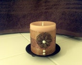 "Decorative 3"" Pillar Candle in Golden Brown Earth Tones"