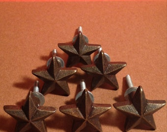 DRAWER PULLS Lot Of 6 Cast Iron Stars  Drawer Or Cabinet Pulls
