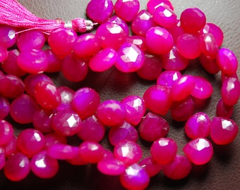 2x7 Inch Strand -Hot Pink Chalcedony Faceted Heart Briolettes Size 11mm Approx