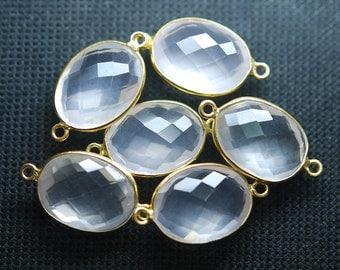 92.5 Silver Vermeil Rose Quartz Faceted Pendant Connector,2 Piece of 25mm