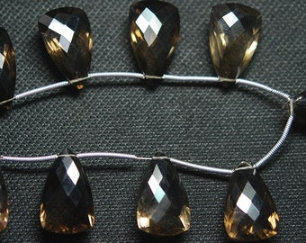 3 Matched Pair 6 pieces, AAA Quality, 20mm Long Smoky Quartz Faceted ELONGATED Trillion Shape Briolettes Matched Pair