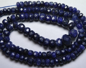 13 Inches Strand,Dyed Blue Sapphire Corundum 3.5-4mm Rondelle Faceted Beads,Micro Faceted Beads,