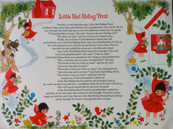 Little Red Riding Hood Paper Placemats, Set of 6
