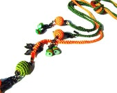 Summer crochet necklace orange green multi strand crochet Y necklace, multistrand necklace gift ideas for her  women fashion