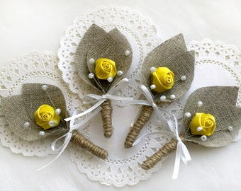 Set of 4- Yellow Flower burlap Boutonniere (buttonhole)