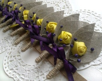 Set of 12- Yellow Flower burlap Boutonniere (buttonhole)-Yellow &Plum Purple