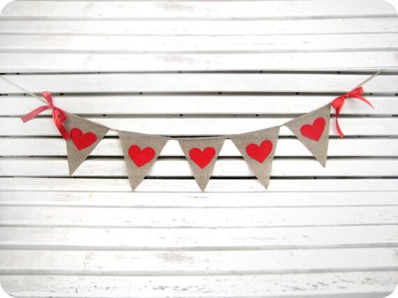 Valentines Banner-Wedding Burlap Banner Red Hearts - Wedding garland - Wedding Photo booth prop