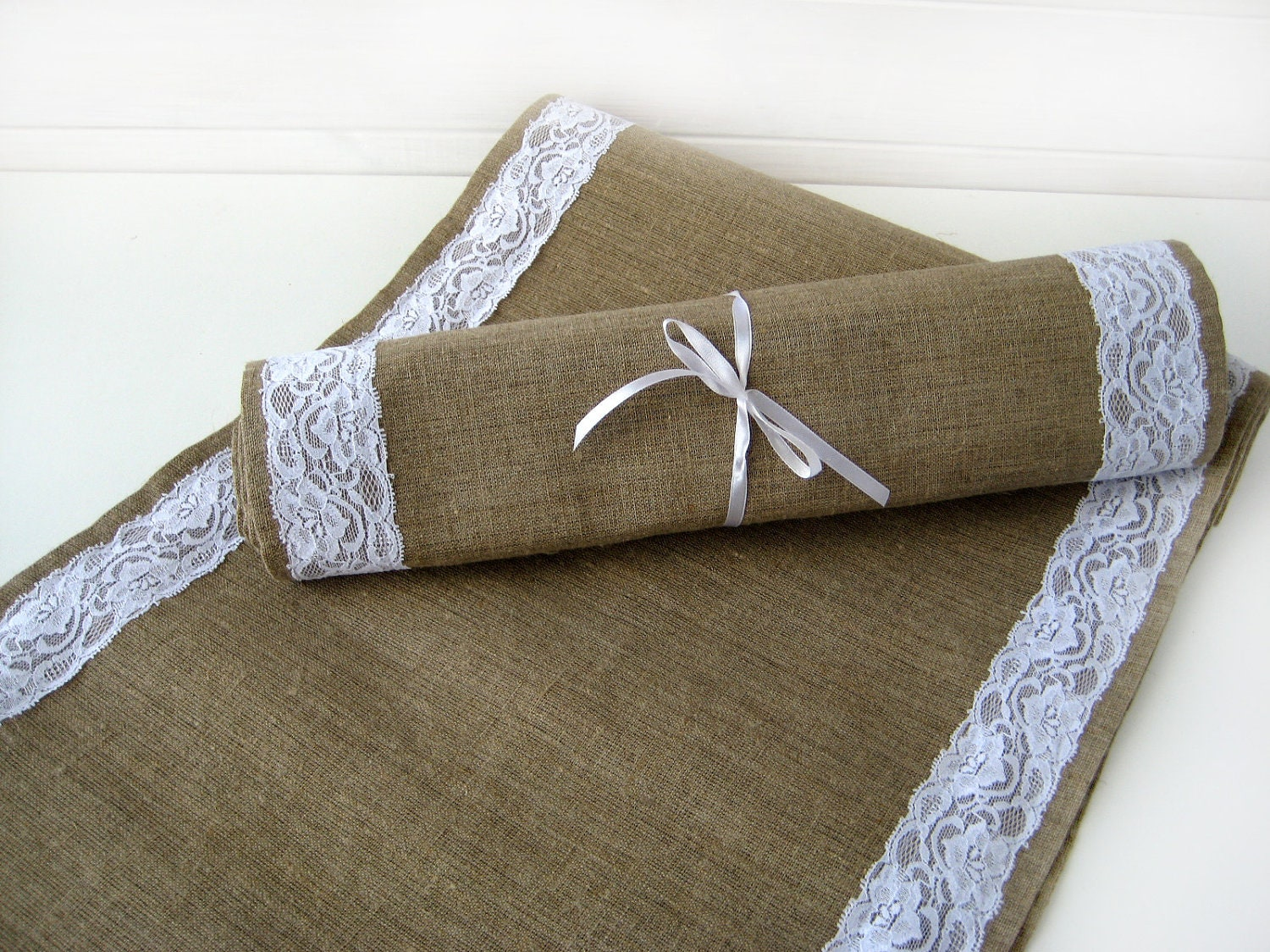 wedding table runner burlap and lace table runner burlap table