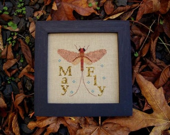 """Cross Stitch Instant Download Pattern """"Mayfly"""" Counted Embroidery Chart. Wings Spring Whimsical Design. Turquoise Graphics & Designs."""