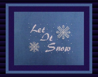 """Christmas Cross Stitch Instant Download PDF Pattern """"Let It Snow"""" Winter Holiday Cross Chart. X Stitch. Counted Embroidery Beaded Snowflake"""