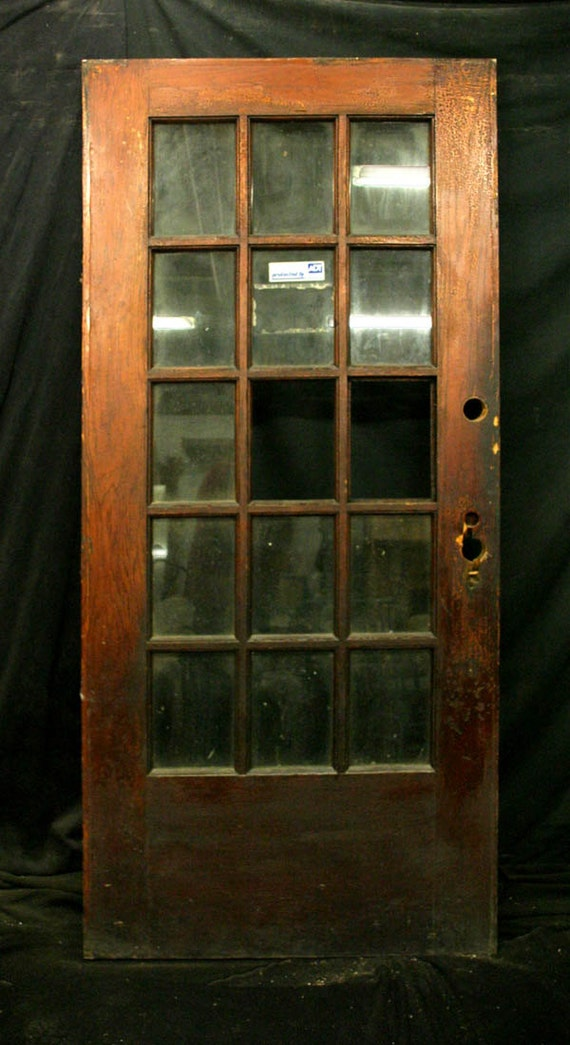 Items similar to 36 x84 antique solid oak french exterior for Vintage solid wood doors