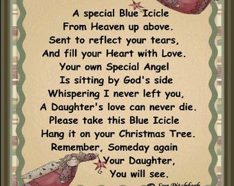 In Loving Memory of Daughter Blue Icicle Ornament