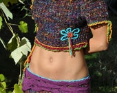 Reserve for Veronique Bohemian sexy mini sweater, Gypsy romantic up cycled eco friendly sweater