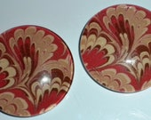 Pair of Glass Magnets: Coral and Brown Marbleized