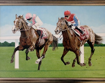 Horse Racing Original Oil Painting on stretchered canvas by International artist Allen Richings