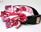 Pink Floral Print Dog Collar and flower set (Small Size)- Adjustable and Ready to ship