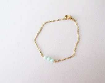 Mint crystal gold bracelet // gift for her