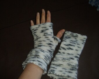 Fingerless gloves, wristwarmers White and grey soft  FREE shipping