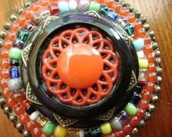 colorful vintage button mandala brooch