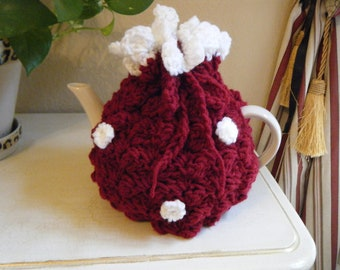 Crochet  Tea Cozy.  Claret Red and White.